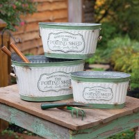 Set of Three Rustic Potting Shed Buckets