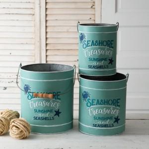 Set of Three Seashore Treasures Galvanized Buckets