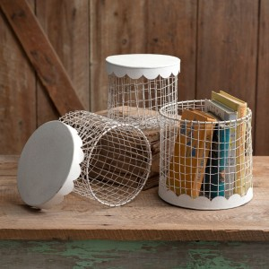 Set of Three Wire Boxes With Scalloped Metal Lids