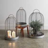 Set of Three Wire Mesh Cloche with Base
