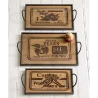 Set of Three Wood and Metal Serving Trays
