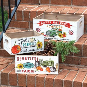 Set of Three Wooden Storage Boxes