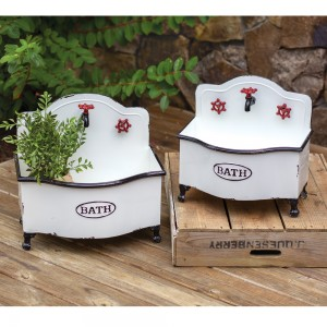 Set of Two Bath Sink Planters