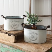 Set of Two Bee Happy Oval Buckets