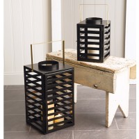 Set of Two Black Caged Lanterns with Gold Handles
