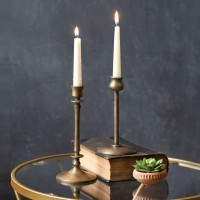 Set of Two Brass Taper Candle Holders
