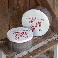 Set of Two Candy Cane Storage Rounds
