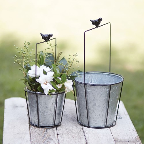 Set of Two Chickadee Metal Planters