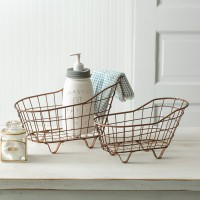 Set of Two Copper Finish Bathtub Baskets