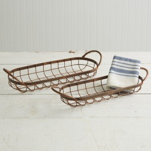 Set of Two Copper Finish Bread Baskets