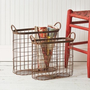 Set of Two Copper Finish Oval Baskets