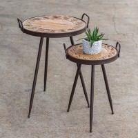 Set of Two Decorative Wood Top Tables