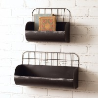 Set of Two Divided Wire Back Wall Bins