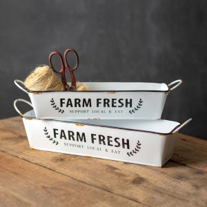 Set of Two Enamel Farm Fresh Trays