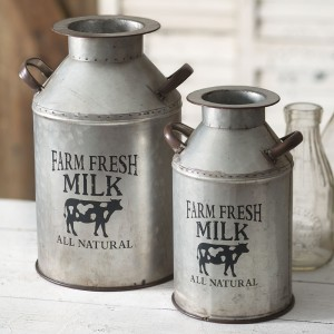 "Set of Two ""Farm Fresh Milk"" Cans"