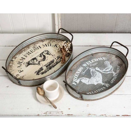 Set of Two Farmhouse Oval Serving Trays