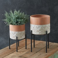 Set of Two Floral Embossed Plant Stands