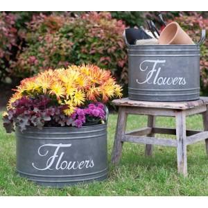 Set of Two Flower Bins