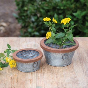 Set of Two Flower Frog Pails