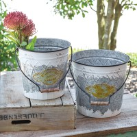 Set of Two Flowers & Garden Buckets with Handle