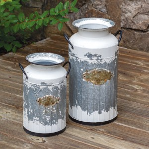 Set of Two Flowers & Garden Milk Cans