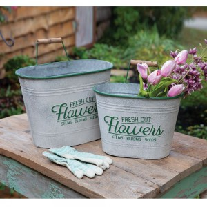 Set of Two Fresh Cut Flowers Bins