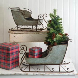 Set of Two Galvanized Sleighs