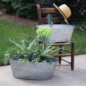Set of Two Galvanized Wash Tubs