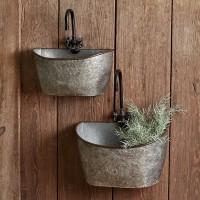 Set of Two Galvanized Washtub Wall Bins