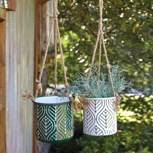 Set of Two Green and White Hanging Metal Planters
