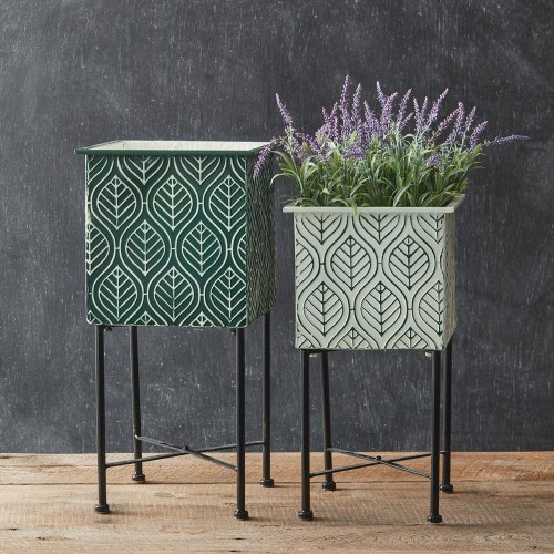 Set of Two Green and White Square Metal Plant Stands