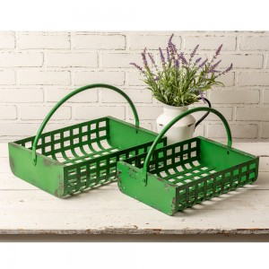 Set of Two Green Storage Baskets