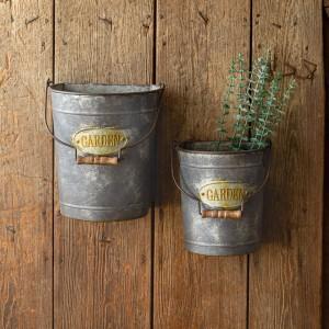 Set of Two Hanging Garden Buckets