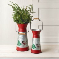 Set of Two Holiday Scene Containers with Handles