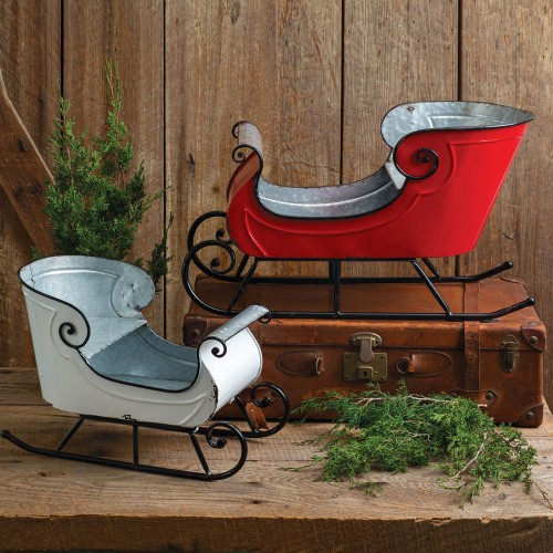 Set of Two Holiday Sleighs