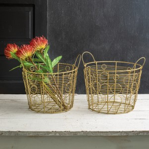 Set of Two Large Gold Baskets