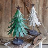Set of Two Metal Christmas Trees