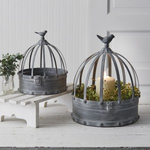 Set of Two Metal Cloches with Birds