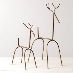 Set of Two Modern Reindeer - Antique Brass