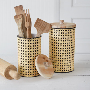 Set of Two Open Weave Cane Containers
