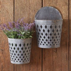 Set of Two Open Weave Wall Hanging Buckets