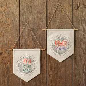 Set of Two Peace and Joy Fabric Wall Hangings