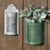 Set of Two Perforated Wall Containers