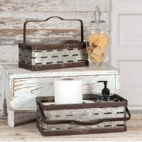Set of Two Rectangular Olive Buckets