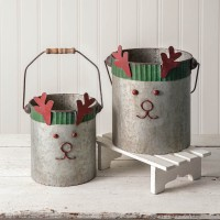 Set of Two Reindeer Buckets
