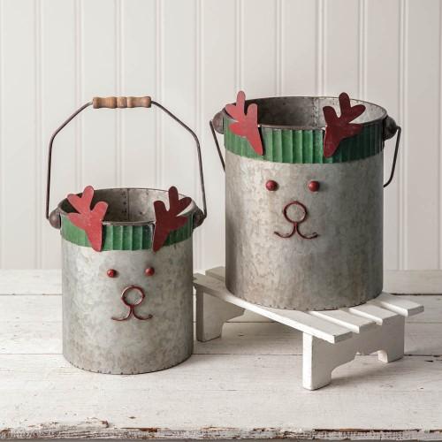 Set of Two Reindeer Buckets