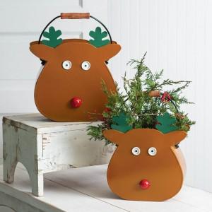 Set of Two Reindeer Metal Buckets