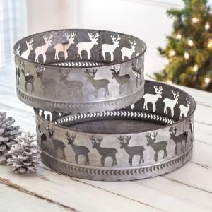 Set of Two Reindeer Round Bins