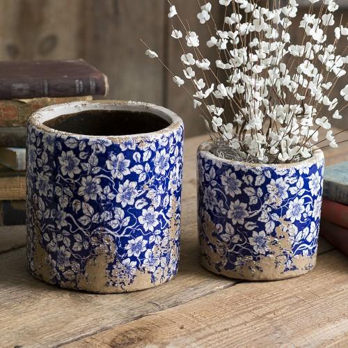 Set of Two Rustic Ceramic Flower Pots