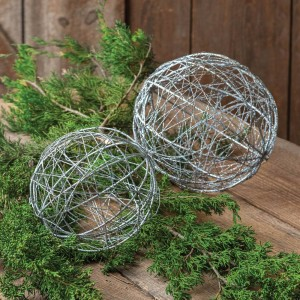 Set of Two Silver Glitter Ball Ornaments